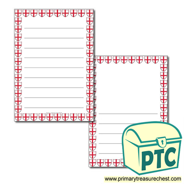 Saint George's Flag Themed Page Border - Wide Lined