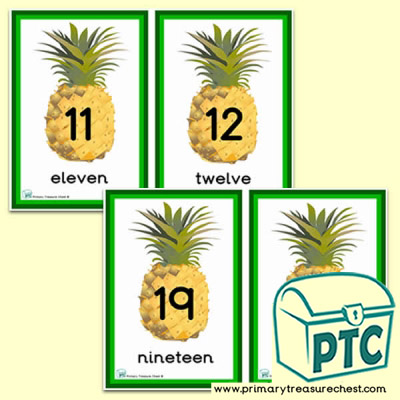 Pineapple Themed Number Line 11 to 20