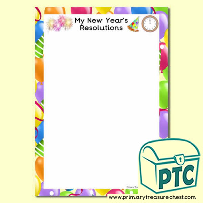 'My New Year's Resolutions' Writing Frame (No Lines)