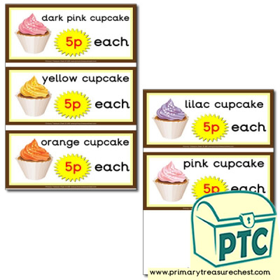 Role Play Cake Shop - Cupcake Prices 1-20p
