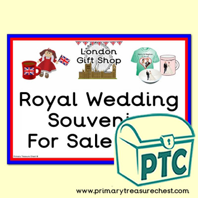London Gift Shop Royal Wedding Sign for your role play area
