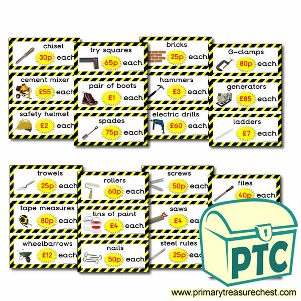 Role Play DIY Shop Prices Flashcards (21p - £99)