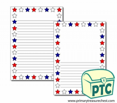 Red, White and Blue Stars Page Border/Writing Frame (narrow lines)