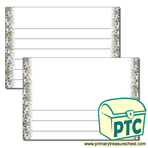 Cherry Blossom Landscape Page Border - Wide Lines