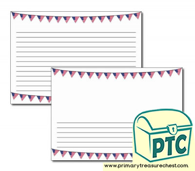 American Flag Bunting Landscape Page Border/Writing Frame (narrow lines)