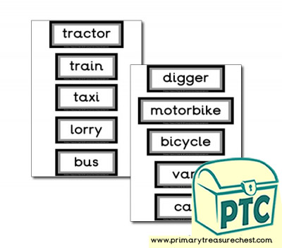 Land Transport Themed Display Words