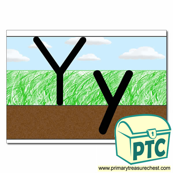 Letter 'Yy' Ground-Grass-Sky Letter Formation Sheet