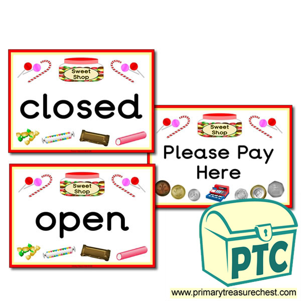 Sweet Shop Role Play Open/Closed Signs