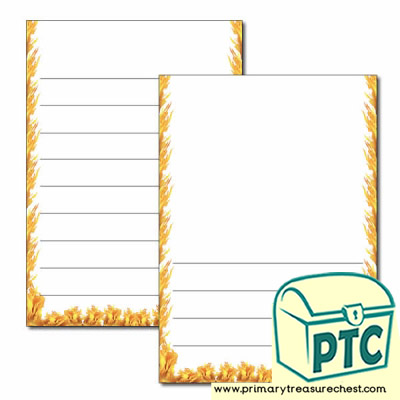 Fire Themed Page Border/Writing Frame (wide lines)