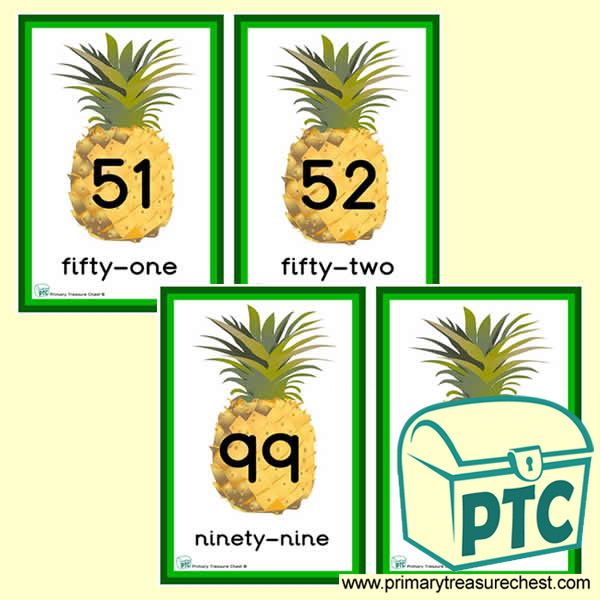 Pineapple Themed Number Line 51 to 100