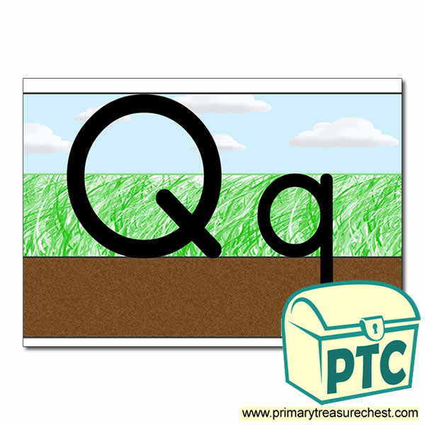 Letter 'Qq' Ground-Grass-Sky Letter Formation Sheet