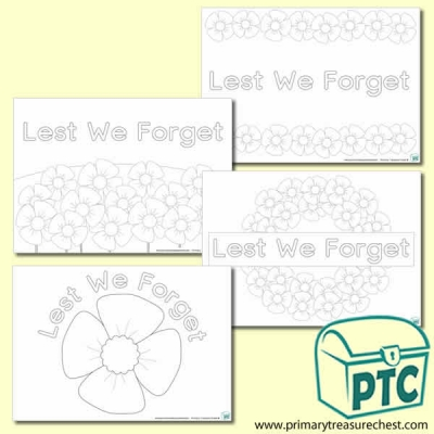 'Lest We Forget' Colouring Sheets