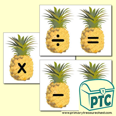 Pineapple Number Line Maths Symbols