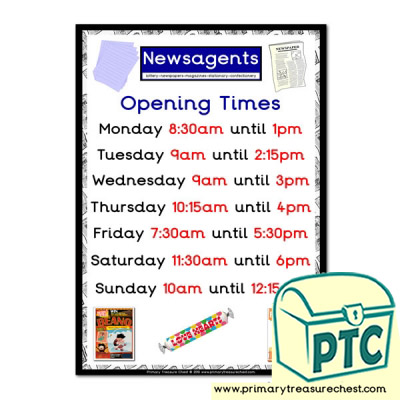 Role Play Newsagents Opening Times (Quarter & Half Past)