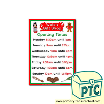 Welsh Gift Shop Opening Times Poster ( quarter & half past)