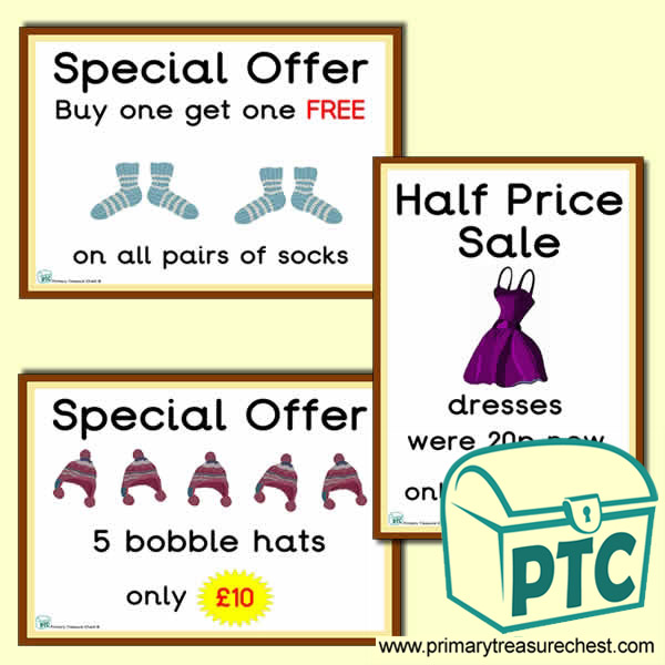 Clothes Shop Role Play Special Offer Posters (1-20p)