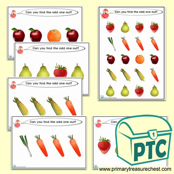 Odd-One-Out Fruit & Vegetable / Healthy Eating Challenge Activity Stage 1