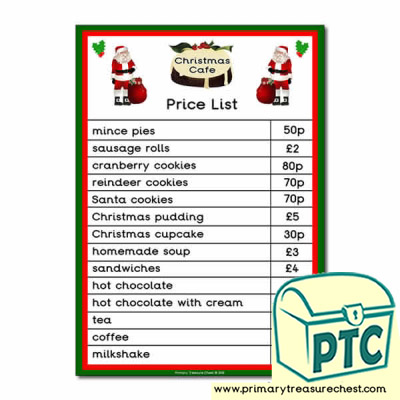 Christmas Cafe Role Play Price List (21p to £99)