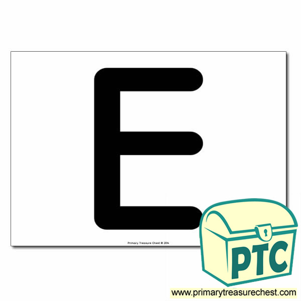 'E' Uppercase Letter A4 poster  (No Images)