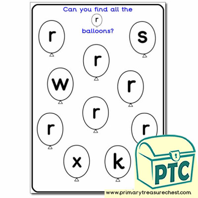 Letter 'r' Balloon Activity Sheet - Foundation Phase ...