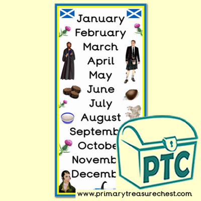 Scottish themed Months of the Year Poster