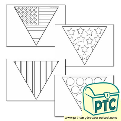 American Flag Themed Colouring-in Bunting