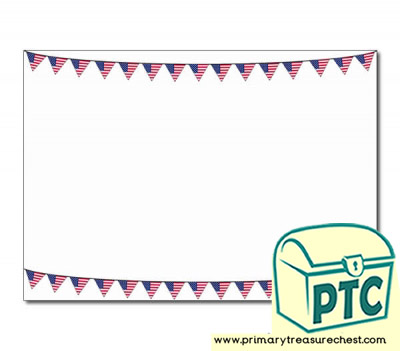 American Flag Bunting Landscape Page Border/Writing Frame (no lines)