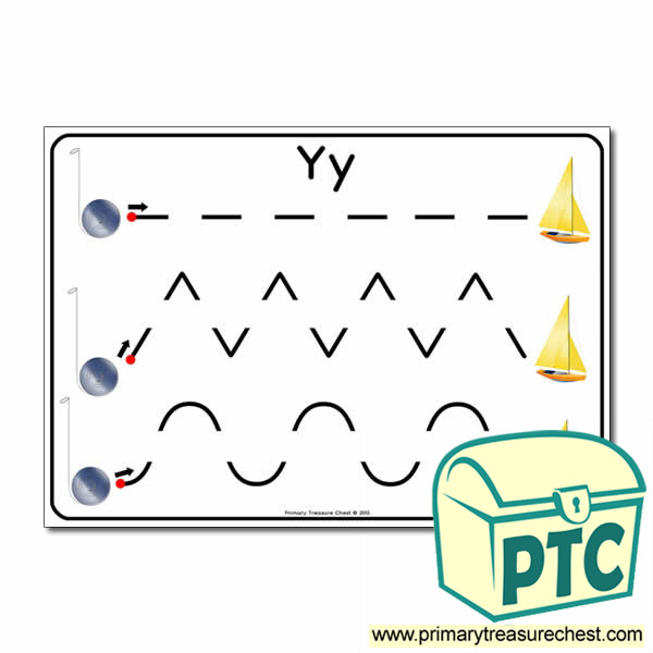 'Yy' Themed Pre-Writing Patterns Activity Sheet