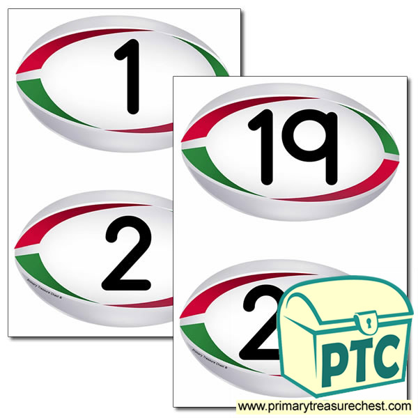 Rugby Ball Themed Numbers 0 to 20