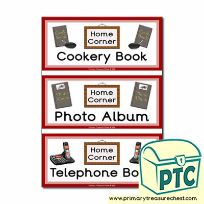 Home Corner Role Play Book Covers / Labels