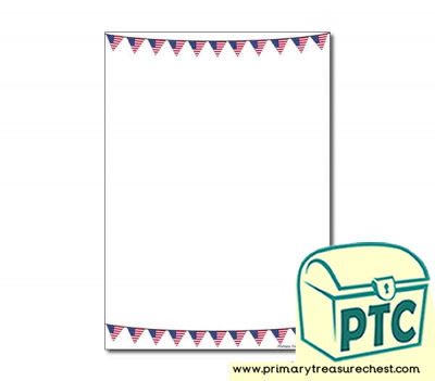 American Flag Bunting Page Border/Writing Frame (no lines)