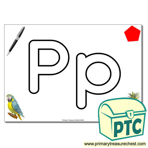 'Pp' Upper and Lowercase Bubble Letters A4 Poster, containing high quality, realistic images