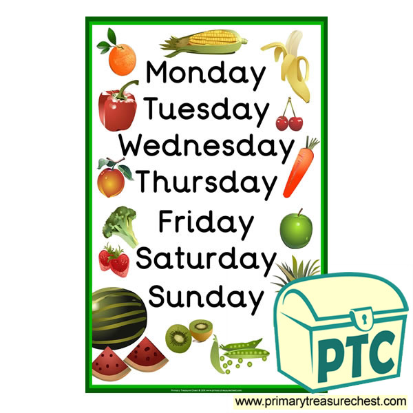 Days of the Week Fruit and Vegetable Poster