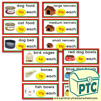 Pet Shop Role Play Equipment Prices Flashcards (1-20p)