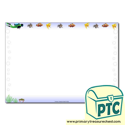 'Under the Sea' Themed Landscape Page Border/Writing Frame (no lines)