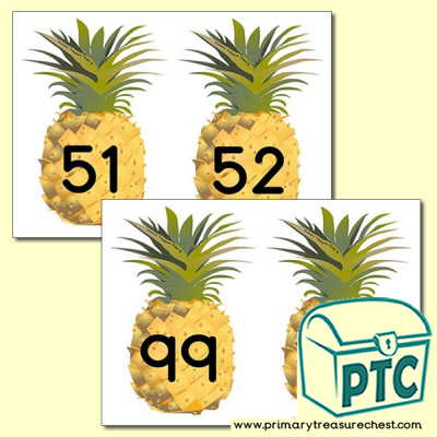 Pineapple Themed Number Line 51-100