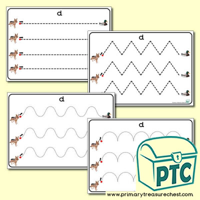 'Dd' Themed Pre-Writing Patterns Activity Sheets