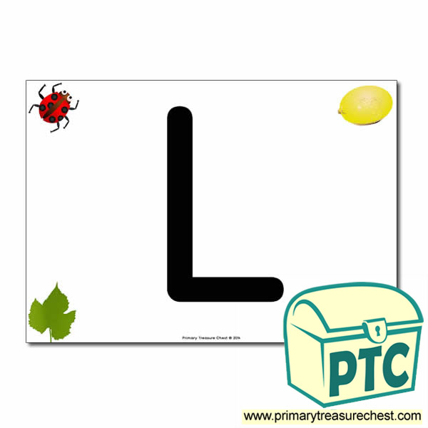 'L' Uppercase Letter A4 poster with high quality realistic images