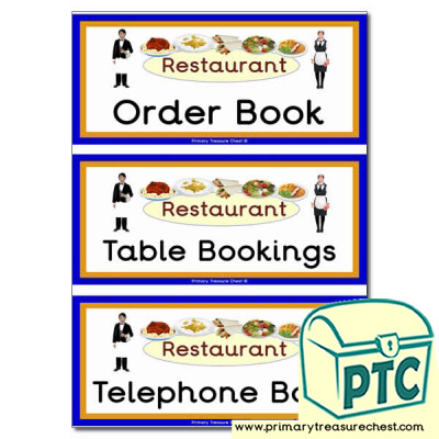 Restaurant Role Play Book Covers / Labels