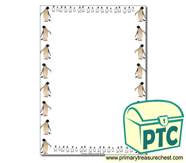 Penguin Themed Page Borders Writing Frames No Lines
