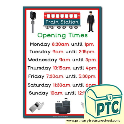 Train Station Role Play Opening Times Poster (Quarter & Half Past)