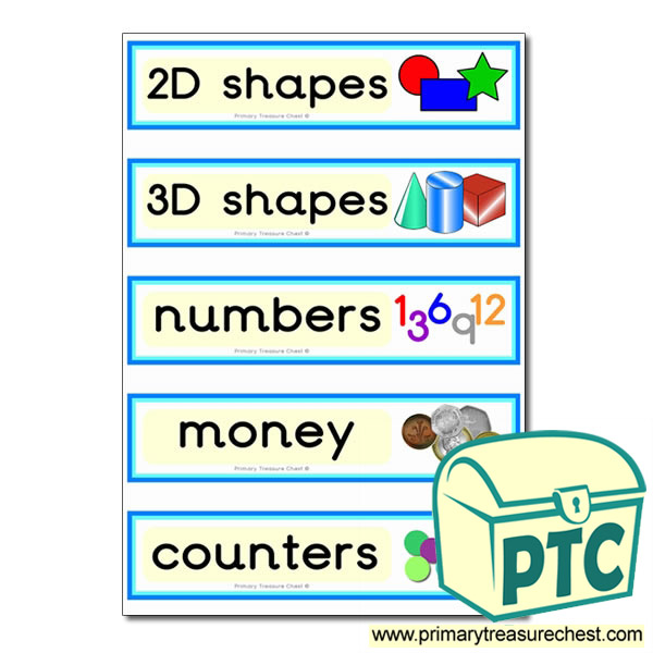 Draw labels with maths equipment images