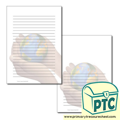 Hand Holding World Themed Writing Frame /Page Border (narrow lines)