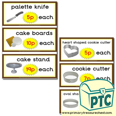 Role Play Cake Shop equipment prices 1-20p