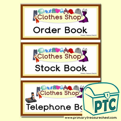 Clothes Shop Role Play Book Covers / Labels