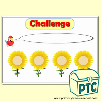 Number Line Sunflower Challenge Poster
