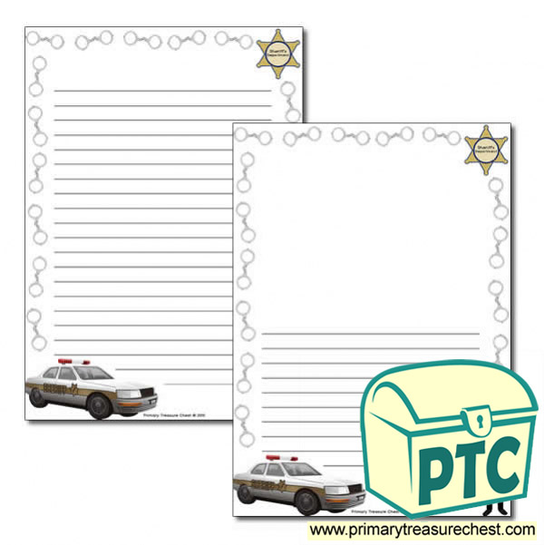 Sheriff Themed Page Border/Writing Frame (narrow lines)