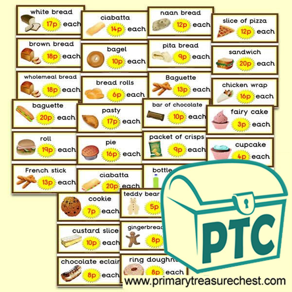 Bakery Shop Prices Flashcards (1-20p)