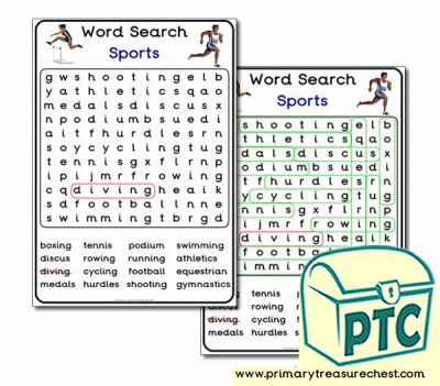 Sports and Medals Word Search Worksheet