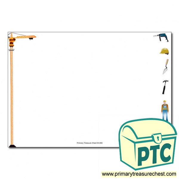 Space Themed Classroom Ideas ~ Construction site themed landscape page border writing